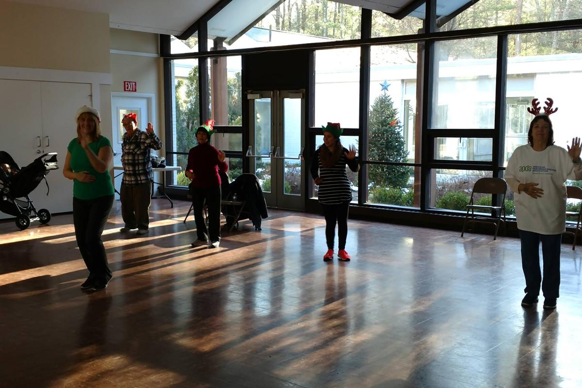 Kathy's Zumba Gold Class Gets into the Spirit with Holiday Hats