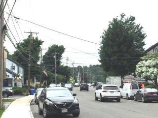 photo of the stores and main road through downtown Topsfield