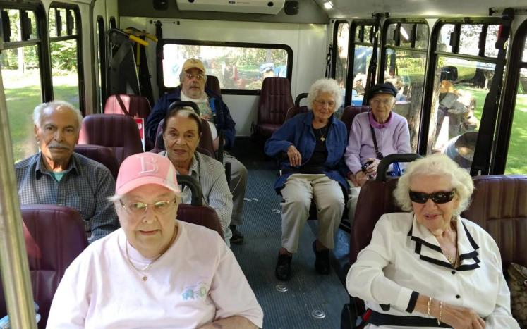 Shoppers on the bus